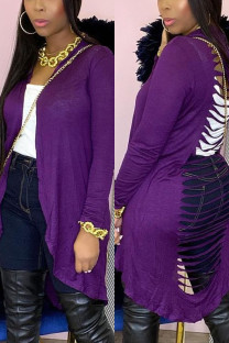 Purple Sexy Solid Hollowed Out Hooded Collar Outerwear