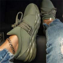 Army Green Daily Round Mesh Breathable Shoes
