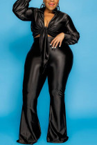 Black Fashion Solid V Neck Long Sleeve Two Pieces
