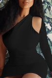 Black Sexy Solid Hollowed Out One Shoulder Wrapped Skirt Dresses