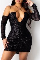 Black Sexy Solid Sequins V Neck Wrapped Skirt Dresses