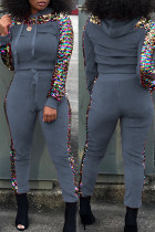 Grey Fashion Casual Patchwork Sequins Hooded Collar Long Sleeve Two Pieces