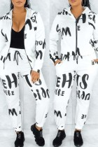 White Fashion Casual Print Basic Zipper Collar Long Sleeve Two Pieces