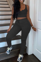 Black Casual Sportswear Solid Vests Pants V Neck Sleeveless Two Pieces