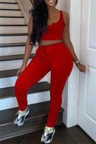 Red Casual Sportswear Solid Vests Pants V Neck Sleeveless Two Pieces