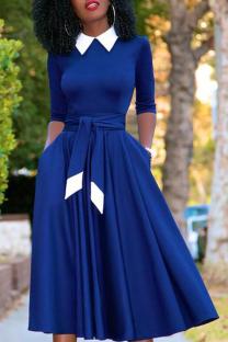 Blue Vintage Solid Bandage Turndown Collar Pleated Dresses