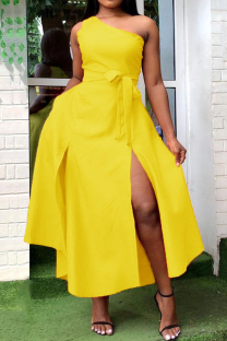 Yellow Sweet Solid Split Joint High Opening One Shoulder Vest Dress Dresses