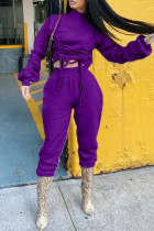 Purple Fashion Sportswear Adult Solid Draw String O Neck Long Sleeve Two Pieces
