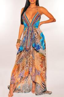 Orange Vintage Print Split Joint Spaghetti Strap Sling Dress Dresses