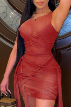 Red Sexy Mesh O Neck Pencil Skirt Dresses