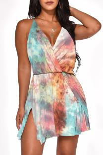 Light Blue Sexy Gradual Change Print Split Joint Backless V Neck A Line Dresses