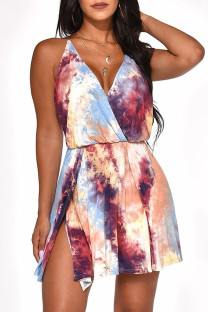 Purple Sexy Gradual Change Print Split Joint Backless V Neck A Line Dresses