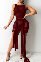 Burgundy Sexy Solid See-through O Neck Irregular Dress Dresses