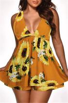 Yellow Sexy Casual Print Backless V Neck Sleeveless Dress