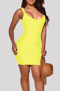 Yellow Fashion Sexy Solid Basic O Neck Vest Dress