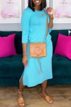Sky Blue Casual Solid Make Old Slit O Neck Straight Dresses
