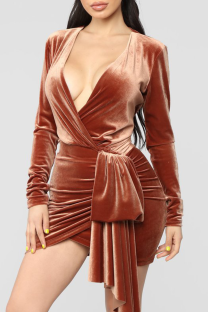 Brown Sexy Solid Bandage POLO collar A Line Dresses