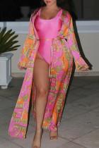 Pink Fashion Casual Print Cardigan Outerwear