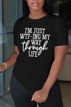 Black Fashion Casual Letter Print Basic O Neck Tops