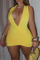 Yellow Sexy Solid Split Joint V Neck Pencil Skirt Dresses