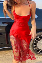 Red Fashion Sexy Solid Split Joint Backless Spaghetti Strap Sleeveless Dress Dresses
