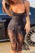 Black Fashion Sexy Solid Split Joint Backless Spaghetti Strap Sleeveless Dress Dresses