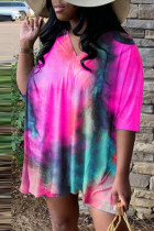 Rose Red Fashion Casual Print Tie Dye Slit V Neck Plus Size Two Pieces
