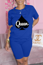 Blue Fashion Casual Print Basic O Neck Short Sleeve Two Pieces