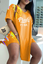 Orange Fashion Casual Letter Print Slit V Neck Short Sleeve Two Pieces