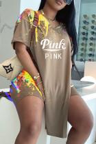 Khaki Fashion Casual Letter Print Slit V Neck Short Sleeve Two Pieces