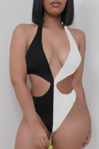 Black And White Sexy Solid Hollowed Out Split Joint Swimwears
