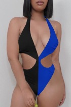 Blue Black Sexy Solid Hollowed Out Split Joint Swimwears