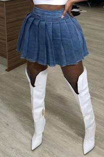 Dark Blue Fashion Casual Solid High Waist Regular Denim Pleated Skirt