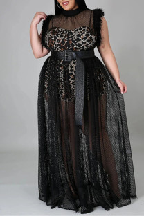 Black Sexy Plus Size Patchwork See-through Without Belt Turtleneck Sleeveless Dress