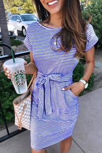 Colorful blue Cap Sleeve Short Sleeves O neck A-Line Knee-Length Striped Patchwork Dresses