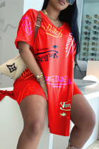 Red Fashion Casual Print Slit V Neck Short Sleeve Two Pieces