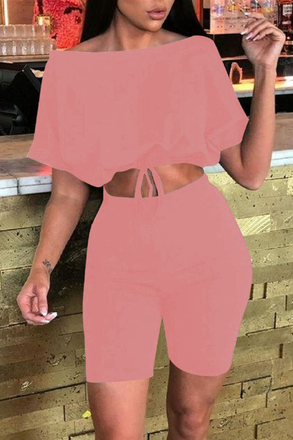 Pink Fashion Casual Solid Basic Off the Shoulder Half Sleeve Two Pieces