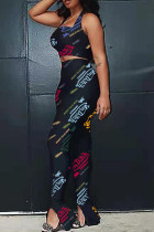 Black Sexy Casual Letter Print Backless Halter Sleeveless Two Pieces