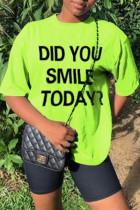 Green Fashion Casual Letter Print Basic O Neck T-Shirts