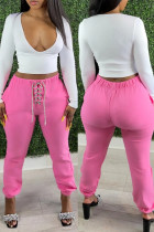 Pink Fashion Casual Solid Strap Design Regular High Waist Trousers