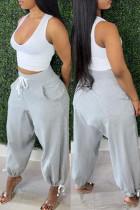 Grey Fashion Casual Basic Regular High Waist Trousers