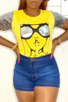 Yellow Fashion Casual Print Split Joint O Neck T-Shirts