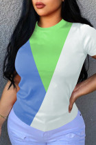 Green Fashion Casual Patchwork Basic O Neck T-Shirts