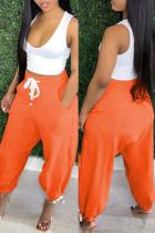 Orange Fashion Casual Solid Basic Mid Waist Harlan Trousers