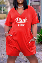 Red Fashion Casual Letter Print Basic V Neck Plus Size Jumpsuits