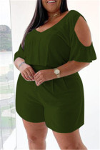 Army Green Fashion Casual Solid Basic V Neck Plus Size Romper