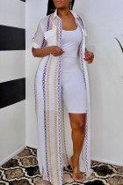 White Fashion Casual Print Basic Turndown Collar Outerwear