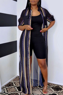Black Fashion Casual Print Basic Turndown Collar Outerwear