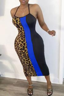 Blue Fashion Casual Ma'am Leopard Halter Neck A-Line Dresses