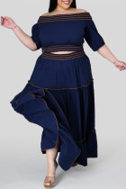 Deep Blue Fashion Casual Solid Split Joint Off the Shoulder Plus Size Two Pieces